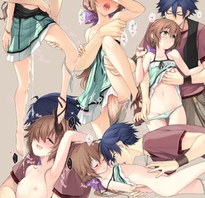 Rating: Explicit Score: 10 Tags: 1boy 1girl :d armpits bangs barefoot blue_hair blush breast_grab breasts brown_hair closed_eyes clothed_sex collarbone couple cum cumdrip dress dress_pull drooling eiyuu_densetsu eyebrows_visible_through_hair grabbing green_eyes green_panties grey_background hair_between_eyes hair_ribbon hakuleg half-closed_eyes heart heart-shaped_pupils hetero moaning multiple_views navel nipples open_mouth pantsu pantsu_around_one_leg pantsu_pull penis purple_ribbon rean_schwartzer ribbon saliva sen_no_kiseki simple_background sleeveless sleeveless_dress small_breasts smile spoken_heart stomach symbol-shaped_pupils tears tongue torogao towa_herschel underwear wristband User: DMSchmidt