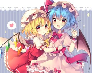 Rating: Safe Score: 0 Tags: 2girls absurdres bangs bat_wings blonde_hair blue_background blue_hair blush bow bowtie center_frills cowboy_shot crystal eyebrows_visible_through_hair flandre_scarlet frilled_shirt_collar frills hair_between_eyes hand_up hat hat_bow hat_ribbon heart highres hug index_finger_raised lace_trim long_hair looking_at_viewer mob_cap multiple_girls one_side_up open_mouth parted_lips petticoat pink_hat puffy_short_sleeves puffy_sleeves red_bow red_eyes red_neckwear red_ribbon red_sash red_skirt red_vest remilia_scarlet ribbon ruhika sash short_sleeves siblings sisters skirt skirt_set smile sparkle spoken_heart striped striped_background touhou_project vertical-striped_background vertical_stripes vest white_hat wings wrist_cuffs yellow_bow yellow_neckwear User: DMSchmidt