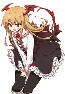 Rating: Safe Score: 0 Tags: 1girl back_bow bangs bat_wings between_legs black_bow black_legwear black_skirt blonde_hair bow cross-laced_clothes fang frilled_skirt frills hair_between_eyes hand_between_legs head_wings heart long_hair long_sleeves looking_at_viewer murakami_meishi open_mouth pantyhose pointy_ears red_eyes redrose shingeki_no_bahamut shirt skirt skirt_hold smile solo standing vampy very_long_hair white_shirt wings User: Domestic_Importer