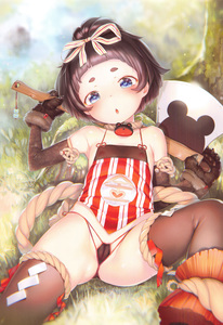 Rating: Questionable Score: 7 Tags: 1girl :o absurdres animal_print anklet armlet armpits axe bangs bare_shoulders black_gloves black_hair black_panties blue_eyes blunt_bangs blush bob_cut brown_legwear cameltoe claws clothes covered_nipples dudou elbow_gloves erect_nipples_under_clothes eyelashes flat_chest gloves grass hair_ornament hair_ribbon hand_up heart henreader highres jewellery knee_up looking_at_viewer makeup mascara micro_panties nipples open_mouth original outdoors pantsu paw_gloves paws pink_lips plant puddle ribbon rope scan shiny shiny_skin short_eyebrows short_hair side-tie_panties sitting sleeveless smile solo spread_legs string_panties striped symbol-shaped_pupils thighhighs thong underwear weapon User: Domestic_Importer
