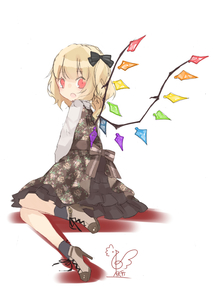 Rating: Safe Score: 0 Tags: 1girl bangs black_bow blonde_hair blush boots bow brown_dress brown_footwear crystal dress eyebrows_visible_through_hair flandre_scarlet floral_print from_behind full_body grey_legwear hair_between_eyes hair_bow high_heel_boots high_heels highres long_hair long_sleeves looking_at_viewer looking_back no_hat no_headwear one_side_up petticoat red_eyes shadow shirt signature simple_background sitting socks solo touhou_project toutenkou white_background white_shirt wings User: DMSchmidt