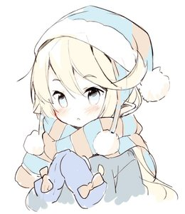 Rating: Safe Score: 5 Tags: 1girl :o bangs beanie blonde_hair blue_coat blue_eyes blue_hat blue_mittens blush charlotta_fenia eyebrows_visible_through_hair fur-trimmed_hat fur_trim granblue_fantasy hair_between_eyes hands_up hat head_tilt long_hair looking_at_viewer meito mittens parted_lips pointy_ears scarf simple_background solo striped striped_scarf upper_body white_background User: DMSchmidt