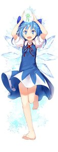 Rating: Safe Score: 0 Tags: 1girl animal arms_up barefoot blue_dress blue_eyes blue_hair bow cirno dress efe fairy frog frozen hair_ornament hair_ribbon ice ice_wings looking_at_viewer open_mouth puffy_sleeves ribbon short_hair short_sleeves simple_background smile solo touhou_project white_background wings User: DMSchmidt
