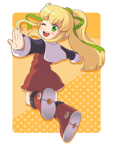 Rating: Safe Score: 1 Tags: 1girl blonde_hair boots capcom dress full_body green_eyes hair_ribbon highres ki_(adotadot) long_hair long_sleeves midair one_eye_closed open_mouth outstretched_arm ponytail red_skirt ribbon rockman rockman_(classic) roll sidelocks skirt solo yellow_background User: DMSchmidt