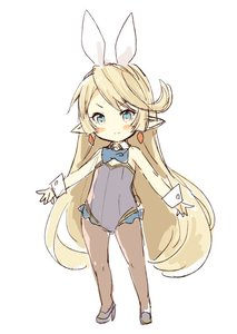 Rating: Safe Score: 3 Tags: 1girl bangs bare_shoulders black_footwear blonde_hair blue_eyes blue_neckwear blush_stickers bow bowtie brown_legwear charlotta_fenia closed_mouth detached_collar earrings eyebrows_visible_through_hair full_body granblue_fantasy grey_leotard hair_ribbon harvin high_heels jewellery leotard long_hair meito pantyhose pointy_ears ribbon shoes simple_background sketch smile solo stamp strapless strapless_leotard v-shaped_eyebrows very_long_hair white_background white_collar white_ribbon wrist_cuffs User: DMSchmidt