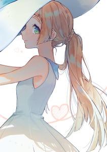 Rating: Safe Score: 1 Tags: 1girl bare_shoulders blonde_hair blush dress from_side green_eyes hat heart heart_of_string lillie_(pokemon) long_hair looking_at_viewer looking_to_the_side pokemon pokemon_(game) pokemon_sm ponytail profile simple_background sleeveless sleeveless_dress solo sun_hat sundress tareme upper_body white_background white_dress white_hat yuno_tsuitta User: DMSchmidt