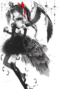 Rating: Safe Score: 0 Tags: 1girl akemi_homura akuma_homura apple asymmetrical_legwear backless_outfit black_dress black_gloves black_hair black_legwear black_wings bow brown_eyes crown dress elbow_gloves eyes food fruit gloves grey_legwear hair_between_eyes hair_bow highres holding holding_fruit jiinyo_(awamoe1207) long_hair looking_at_viewer mahou_shoujo_madoka_magica mini_crown open-back_dress ponytail red_bow shiny shiny_skin short_dress simple_background single_wing sleeveless sleeveless_dress solo thighhighs white_background wings User: DMSchmidt