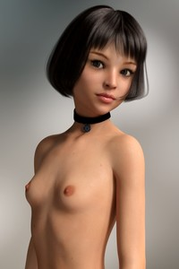 Rating: Questionable Score: 43 Tags: 1girl 3dcg breasts brown_eyes brown_hair choker collar juquin leon_the_professional mathilda_lando nipples nude photorealistic portrait pose shadow small_breasts User: oLurkero