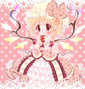 Rating: Safe Score: 0 Tags: 1girl apple bangs blonde_hair blush bow crystal dress flandre_scarlet floral_print food frilled_cuffs frilled_dress frills fruit hands_up hat hat_bow highres holding holding_food holding_fruit lace_border lolita_fashion looking_at_viewer mob_cap pink_background pink_bow pink_theme polka_dot polka_dot_background print_bow print_dress red_eyes side_ponytail smile solo touhou_project wings wrist_cuffs yellow_headwear zatsuni User: DMSchmidt