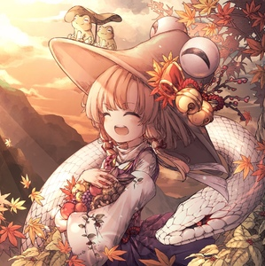 Rating: Safe Score: 1 Tags: 1girl :3 :d ^_^ absurdres apple autumn autumn_leaves bangs bell berry blonde_hair blush bow brown_hat carrying closed_eyes cloud cloudy_sky cowboy_shot dress evening eyebrows_visible_through_hair facing_to_the_side falling_leaves food frog fruit grapes hair_ribbon hat hat_bow highres hito_komoru jingle_bell leaf leaf_umbrella lens_flare light_rays long_hair long_sleeves low-tied_long_hair mishaguji moriya_suwako mountain mushroom open_mouth outdoors pinafore_dress purple_dress red_bow red_eyes red_ribbon ribbon round_teeth scales sky slit_pupils smile snake solo sunbeam sunlight teeth touhou_project turtleneck walnut_(food) wide_sleeves User: DMSchmidt