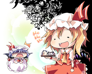 Rating: Safe Score: 0 Tags: 2girls bat_wings blonde_hair decapitation flandre_scarlet ham_(points) multiple_girls remilia_scarlet short_hair siblings side_ponytail sisters team_shanghai_alice touhou_project wings User: DMSchmidt