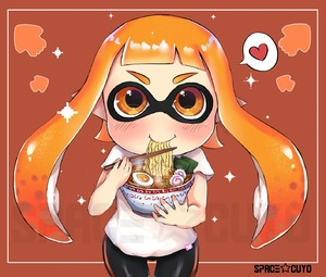 Rating: Safe Score: 1 Tags: 1girl absurdres artist_name bangs blush brown_background closed_mouth domino_mask eating food happy heart highres inkling looking_at_viewer mask matching_hair/eyes nintendo noodles orange_eyes orange_hair pointy_ears ramen shirt sidelocks smile solo spacecuyo spats speech_bubble splatoon spoken_heart t-shirt tentacle_hair watermark white_shirt User: Domestic_Importer