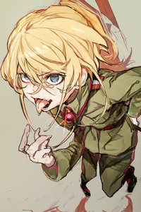Rating: Safe Score: 1 Tags: 1girl absurdres bangs blonde_hair blue_eyes boots collared_jacket crossed_bangs eyebrows_visible_through_hair green_jacket green_pants grey_background hair_between_eyes highres hiranko jacket long_hair long_sleeves looking_at_viewer military_uniform pants saliva simple_background sketch smile solo standing tanya_degurechaff tongue tongue_out uniform youjo_senki User: DMSchmidt