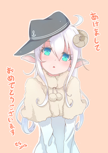 Rating: Safe Score: 0 Tags: 10s 1girl 2015 akeome alternate_costume animal_ears bad_id blue_eyes hat hibiki_(kantai_collection) highres horns kantai_collection kemonomimi_mode long_hair looking_at_viewer new_year sheep_ears sheep_horns solo translation_request white_hair yaosera User: Domestic_Importer