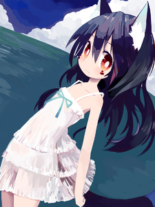 Rating: Safe Score: 1 Tags: 1girl animal_ears bare_shoulders black_hair blush brown_eyes dress facepaint flat_chest highres long_hair looking_at_viewer original paprika_shikiso see-through solo tail white_dress User: DMSchmidt