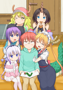 Rating: Safe Score: 1 Tags: 1boy 5girls absurdres aqua_hair arm_hug blonde_hair blue_eyes blush book bread breast_rest breasts breasts_on_head brown_eyes brown_hair closed_eyes couch cowtits dragon_girl dragon_horns dragon_tail eating elma_(maidragon) fang food glasses gloves gradient_hair hair_bobbles hair_ornament hairband hat headdress highres horns hug hug_from_behind kanna_kamui kobayashi-san_chi_no_maidragon kobayashi_(maidragon) large_breasts lavender_hair looking_at_viewer low_twintails magatsuchi_shouta maid maid_headdress miyabeeya multicoloured_hair multiple_girls one_eye_closed open_mouth orange_hair purple_eyes purple_hair quetzalcoatl_(maidragon) red_hair sitting smile sweatdrop tail the_very_hungry_caterpillar thighhighs tooru_(maidragon) twin_tails white_legwear yellow_eyes User: Domestic_Importer