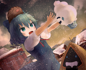 Rating: Safe Score: 1 Tags: 1girl absurdres animal animal_on_head blue_dress blue_eyes blue_hair bow cirno cloud cloudy_sky dress dutch_angle ekaapetto flat_chest gradient_sky hair_between_eyes hair_bow highres house looking_to_the_side mountainous_horizon neck_ribbon on_head open_hands open_mouth outstretched_arm pinafore_dress pokemon puffy_short_sleeves puffy_sleeves red_ribbon ribbon shirt short_hair short_sleeves sky snorunt snow snowing solo swinub touhou_project town vanillite white_shirt wings User: DMSchmidt