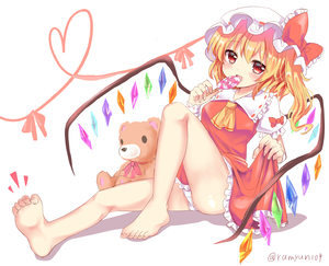 Rating: Safe Score: 0 Tags: 1girl barefoot blonde_hair bow candy eating eyebrows_visible_through_hair flandre_scarlet food hat heart highres licking lollipop open_mouth pantsu ramudia_(lamyun) red_bow red_eyes shadow simple_background sitting smile stuffed_animal stuffed_toy teddy_bear thighs toes touhou_project underwear white_background white_pantsu wings yellow_neckwear User: DMSchmidt