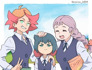 Rating: Safe Score: 0 Tags: 10s 3girls :d :i ^_^ amanda_o'neill blush bow braid chips closed_eyes constanze_amalie_von_braunschbank-albrechtsberger food girl_sandwich grin hand_on_another's_shoulder happy jasminka_antonenko little_witch_academia looking_at_viewer multiple_girls nakajima_asuka open_mouth petting pink_bow potato_chips pout sandwiched school_uniform smile teeth twin_braids v wavy_mouth User: Domestic_Importer
