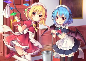 Rating: Safe Score: 2 Tags: 2girls :d absurdres alternate_costume apron ascot bangs bare_shoulders bat_wings blonde_hair blue_hair blue_ribbon blush bow bowtie brooch bucket cowboy_shot crystal detached_sleeves door dress duster enmaided eyebrows_visible_through_hair flandre_scarlet frilled_apron frilled_shirt_collar frills garter_straps hair_between_eyes hair_ribbon headdress highres holding holding_mop indoors jewellery leg_up looking_at_viewer maid maid_apron maid_headdress mop multiple_girls one_side_up open_mouth petticoat picture_frame puffy_short_sleeves puffy_sleeves red_dress red_eyes red_footwear red_neckwear red_ribbon remilia_scarlet ribbon ruhika shoes short_dress short_hair short_sleeves siblings sisters smile standing standing_on_one_leg thighhighs thighs touhou_project waist_apron water white_apron white_legwear wings wrist_cuffs yellow_bow yellow_neckwear zettai_ryouiki User: DMSchmidt