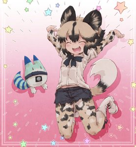 Rating: Safe Score: 0 Tags: 1girl african_wild_dog_(kemono_friends) african_wild_dog_print animal_ears black_hair boots closed_eyes collared_shirt denim denim_shorts dog_ears dog_tail eyebrows_visible_through_hair fang happy highres jumping kemono_friends kolshica light_brown_hair long_sleeves lucky_beast_(kemono_friends) midair midriff_peek multicoloured_hair neck_ribbon open_mouth outstretched_arm pantyhose ribbon shirt short_shorts short_sleeves shorts star tail User: DMSchmidt