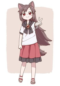 Rating: Safe Score: 0 Tags: 1girl animal_ears blush_stickers brown_hair clenched_hand full_body highres imaizumi_kagerou looking_at_viewer no_socks poronegi red_eyes red_skirt sandals sandals_barefoot shirt skirt smile solo standing tail touhou_project v white_shirt wolf_ears wolf_tail User: DMSchmidt