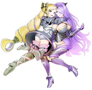 Rating: Safe Score: 5 Tags: 2girls :d armour ass blonde_hair blush boots bow breasts camilla_(fire_emblem_if) cleavage cowtits dress earrings elise_(fire_emblem_if) eyebrows_visible_through_hair fire_emblem fire_emblem_heroes fire_emblem_if full_body gloves hair_bow hair_over_one_eye high_heel_boots high_heels highres hug jewellery large_breasts lips long_hair looking_at_viewer multiple_girls open_mouth purple_eyes purple_hair simple_background smile thigh_boots thighhighs tiara twin_tails very_long_hair wavy_hair white_background yyillust User: DMSchmidt