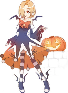 Rating: Safe Score: 0 Tags: 1girl :p bare_shoulders blonde_hair bow detached_sleeves dress ear_piercing earrings full_body hair_over_one_eye halloween halloween_costume highres jewellery legs_apart looking_at_viewer orange_bow pantyhose piercing pumpkin red_eyes rtil shirasaka_koume short_hair simple_background sleeves_past_wrists smile solo standing strapless strapless_dress striped striped_legwear tongue tongue_out torn_clothes torn_pantyhose white_background wide_sleeves User: DMSchmidt