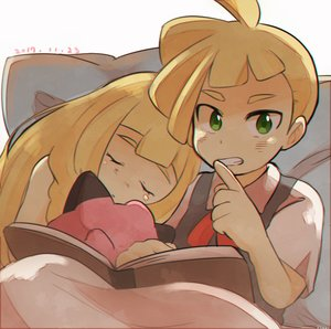 Rating: Safe Score: 0 Tags: 1boy 1girl blonde_hair book brother_and_sister clefairy closed_eyes finger_to_mouth gladio_(pokemon) green_eyes lillie_(pokemon) long_hair open_book pillow pokemon pokemon_(anime) pokemon_sm_(anime) short_hair short_sleeves shushing siblings siroromo sleeping stuffed_toy younger User: Domestic_Importer