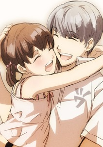 Rating: Safe Score: 0 Tags: 1boy 1girl :d ^_^ arms_around_neck bangs bare_arms brown_hair cheek-to-cheek closed_eyes collared_shirt doujima_nanako dress eyebrows_visible_through_hair hand_on_another's_head happy hug kiyomiya open_mouth persona persona_4 shirt short_sleeves silver_hair sleeveless smile twin_tails upper_body wing_collar User: DMSchmidt