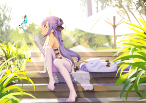 Rating: Safe Score: 1 Tags: 1girl animal azur_lane bangs bare_shoulders black_bow black_ribbon blush bow bug butterfly day dress elbow_gloves eyebrows_visible_through_hair gloves hair_bun hair_ribbon hand_up insect kamikakushi_no_ocarino long_hair looking_away no_shoes one_side_up open_mouth outdoors parasol profile purple_eyes purple_hair ribbon side_bun sitting sitting_on_stairs solo stairs stuffed_animal stuffed_pegasus stuffed_toy stuffed_unicorn sunlight thighhighs umbrella unicorn_(azur_lane) very_long_hair white_dress white_gloves white_legwear User: DMSchmidt