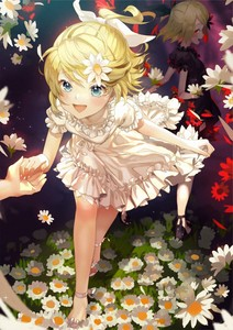 Rating: Safe Score: 2 Tags: 2girls :d alternate_costume ankle_ribbon arms_behind_back black_dress blonde_hair blue_eyes breasts daisy dress dual_persona flower grass hair_flower hair_ornament highres holding_hands kagamine_rin leaning_forward light_particles looking_at_viewer looking_back multiple_girls open_mouth pov pov_hands puffy_short_sleeves puffy_sleeves red_eyes ribbon sandals sawashi_(ur-sawasi) short_hair short_sleeves small_breasts smile vocaloid walking white_dress User: DMSchmidt