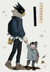 Rating: Safe Score: 1 Tags: 1girl :> alternate_hairstyle arm_up asui_tsuyu autumn_leaves backpack bag black_hair black_pants black_shoes boku_no_hero_academia brown_shoes bucket closed_mouth cover cover_page cross-laced_footwear doujinshi_cover full_body fur_trim ginkgo grey_background hair_ribbon hand_in_pocket holding_finger holding_hand leaf legs_apart long_hair looking_at_another looking_down looking_up pants pants_rolled_up plaid plaid_pants profile red_eyes ribbon sandals scarf shoes short_sleeves shoulder_bag simple_background slippers smile sneakers sweater time_paradox tokoyami_fumikage triangle walking younger z8koo User: DMSchmidt