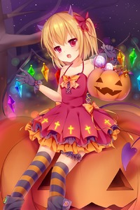 Rating: Safe Score: 0 Tags: 1girl :d alternate_costume amashiro_natsuki basket black_gloves blonde_hair bow collarbone demon_horns demon_tail dress fang flandre_scarlet gloves hair_bow hair_ribbon halloween highres holding horns jack-o'-lantern looking_at_viewer one_side_up open_mouth red_dress red_eyes ribbon sitting smile solo tail touhou_project wings User: DMSchmidt