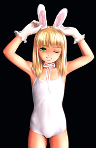 Rating: Questionable Score: 8 Tags: 1girl animal_ears arms_up artist_request blonde_hair bunny_ears cameltoe gloves green_eyes highres lace-trimmed_gloves leotard looking_at_viewer one_eye_closed popopon solo User: Software