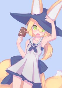 Rating: Safe Score: 2 Tags: 1girl absurdres akatsuki_urara animal_ear_fluff animal_ears armpits bangs bare_shoulders blonde_hair blunt_bangs cowboy_shot dress food fox_ears fox_tail frilled_skirt frills fukutchi green_eyes hair_between_eyes highres ice_cream ice_cream_bar looking_at_viewer original ponytail ribbon sailor_collar sailor_dress simple_background skirt sleeveless solo standing tail User: DMSchmidt