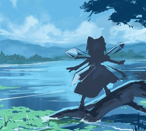 Rating: Safe Score: 0 Tags: 1girl bow cirno cloud day from_behind hair_bow ice ice_wings lake outstretched_arm shishamo@ silhouette sky solo spread_arms standing touhou_project water wings User: Domestic_Importer