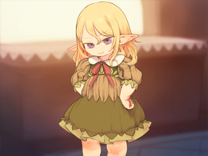 Rating: Safe Score: 0 Tags: 1girl 4:3_aspect_ratio blonde_hair blue_eyes blurry blurry_background closed_mouth cowboy_shot dress elf eyebrows_visible_through_hair feral_lemma green_dress hair_between_eyes hands_on_hips highres long_hair looking_at_viewer no_nose original pointy_ears purple_eyes ribbon short_hair smile solo standing User: Domestic_Importer