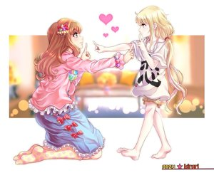 Rating: Safe Score: 0 Tags: 2girls :3 absurdres barefoot beads blonde_hair blouse bow character_name clothes_writing from_side futaba_anzu hair_ornament hair_tie highres idolmaster idolmaster_cinderella_girls kneehighs kneeling koi_dance lon long_hair low_twintails moroboshi_kirari multicolored_polka_dots multicoloured multiple_girls no_shoes pink_blouse polka_dot polka_dot_legwear profile red_bow shirt standing star star_hair_ornament sweatdrop t-shirt tdnd-96 twin_tails very_long_hair white_shirt yellow_eyes User: Domestic_Importer
