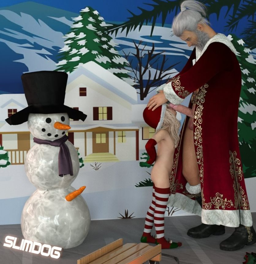 1boy 1girl 3dcg age_difference arms_behind_back ass blonde_hair boots christmas closed_eyes flat_chest gloves hands_on_another's_head hat nipples penis penis_kiss penis_on_face photorealistic santa_claus santa_hat shadow slimdog snowman source_request standing striped_legwear studio testicles thighhighs