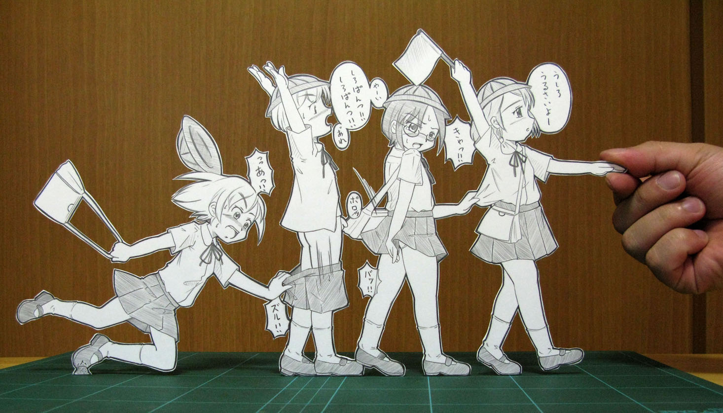 1boy 3girls accident arms up ass bag flag glasses hat holding minigirl multiple girls paper child papercraft penis photo ribbon