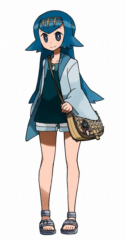 1girl bag bare_legs blue_eyes blue_hair blue_shirt full_body hair_ornament headband jacket long_hair long_sleeves mabu_(dorisuto) matching_hair/eyes npc_trainer older open_toe_shoes pokemon pokemon_(game) pokemon_sm purse sandals shirt shorts shoulder_bag simple_background smile solo standing suiren_(pokemon) teenage toes trial_captain white_background