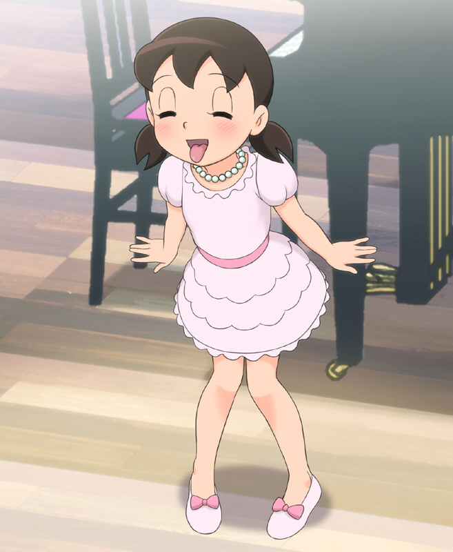 1girl Blush Brown Hair Closed Eyes Doraemon Dress
