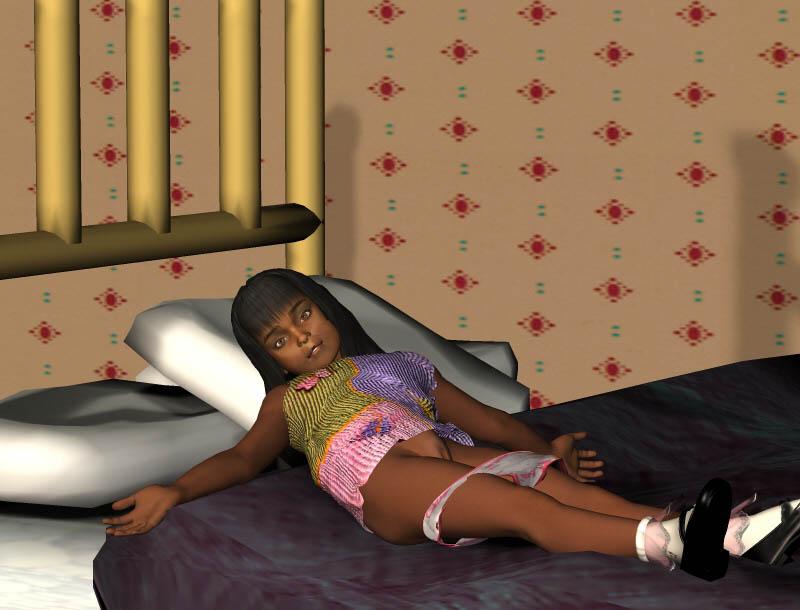 1girl bill3d on bed pantsu pantsu pull underwear lolibooru