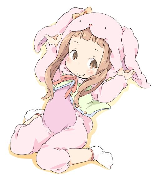 1girl animal_ears bangs brown_eyes brown_hair bunny_costume bunny_ears ham ichihara_nina idolmaster idolmaster_cinderella_girls looking_to_the_side pajamas pink_pajamas smile stuffed_toy tagme_clothing white_background
