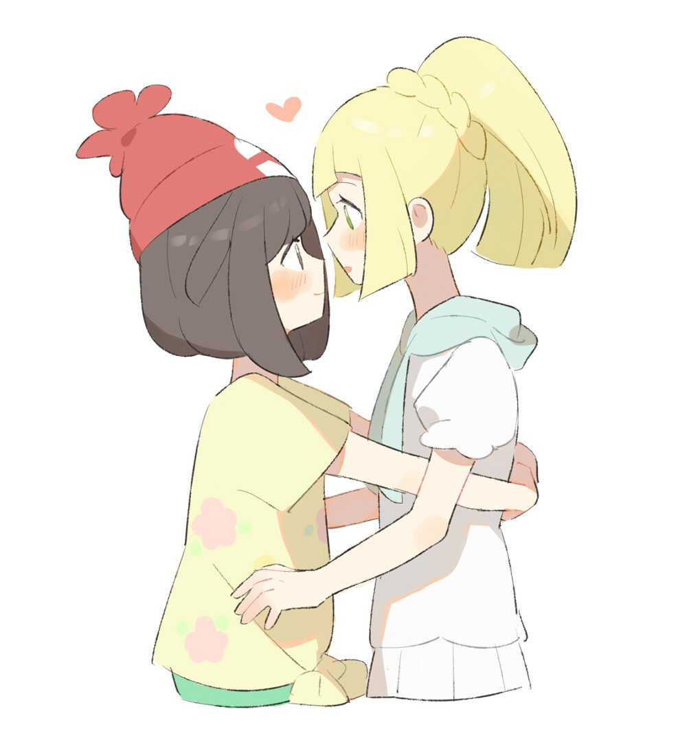2girls beanie black_hair blonde_hair blush from_side green_eyes hat heart hug lillie_(pokemon) long_hair mizuki_(pokemon) multiple_girls pokemon pokemon_(game) pokemon_sm ponytail red_hat shirt short_hair short_sleeves simple_background tied_shirt unadayoo00 white_background white_shirt yuri