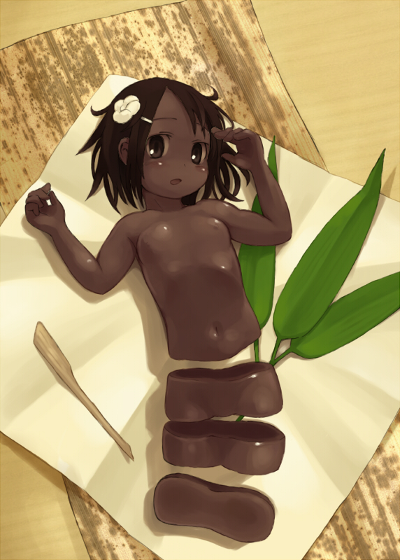 1girl blush brown_eyes brown_hair brown_skin cutting flat_chest flower food girl_in_food hair_ornament hairclip in_food inuinu_(project_october) ken_makiba leaf looking_up minigirl nude original paper personification plant shiny shiny_skin short_hair solo wagashi youkan_(food)
