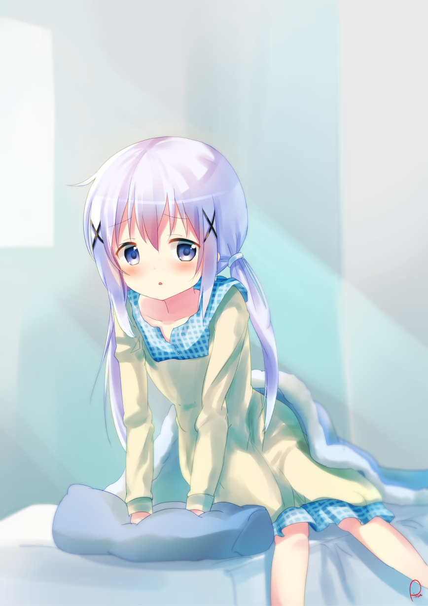 1girl :o arm_support bed bed_sheet blanket blue_eyes blue_hair blush collarbone gochuumon_wa_usagi_desu_ka? hair_ribbon highres indoors kafuu_chino leaning_forward light_rays long_sleeves looking_at_viewer nightgown on_bed parted_lips pillow piripun ribbon signature solo twin_tails waking_up window x_hair_ornament
