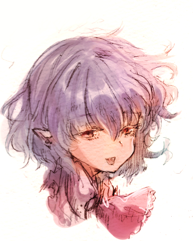 1girl :d ascot bangs eyebrows_visible_through_hair hair_between_eyes lavender_hair looking_at_viewer lowres mom_bolo no_hat no_headwear open_mouth pointy_ears portrait red_eyes red_neckwear remilia_scarlet simple_background sketch smile solo touhou_project white_background