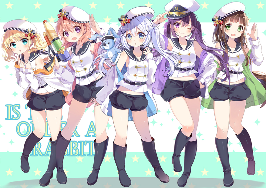 10s 5girls :d :o ;) alternate_costume aqua_eyes badge bangs bare_shoulders belt beret black_boots black_pants blonde_hair blue_eyes blue_hair blunt_bangs blush boots brown_hair chocho_(homelessfox) copyright_name eyepatch full_body gochuumon_wa_usagi_desu_ka? green_eyes gun hair_between_eyes hair_ornament hairclip hand_on_hip hands_on_own_chest hat hat_tip holding holding_gun holding_weapon hoto_cocoa jacket kafuu_chino kirima_sharo knee_boots long_hair looking_at_viewer matching_outfit midriff multiple_girls off_shoulder one_eye_closed open_mouth orange_hair pants peaked_cap purple_eyes purple_hair sailor_collar shadow shirt short_hair shorts sleeveless sleeveless_shirt smile standing star stuffed_animal stuffed_bunny stuffed_toy tedeza_rize twin_tails two-tone_background ujimatsu_chiya water_gun weapon white_hat white_jacket white_shirt x_hair_ornament